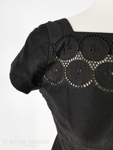 detail of 50s/60s black eyelet sheath dress