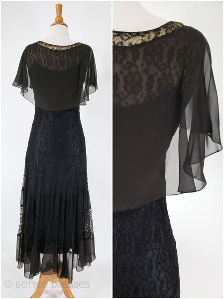 30s lace capelet gown back view combo