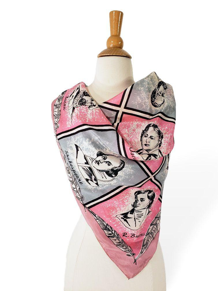 40s Novelty Print Silk Scarf With Authors and Scientists