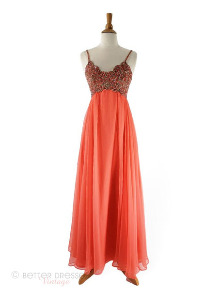 60s/70s Gown in Peach Chiffon by Mike Benet Formals - sm