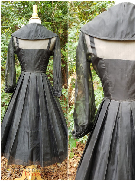 back views of 40s/50s New Look Silk Party Dress