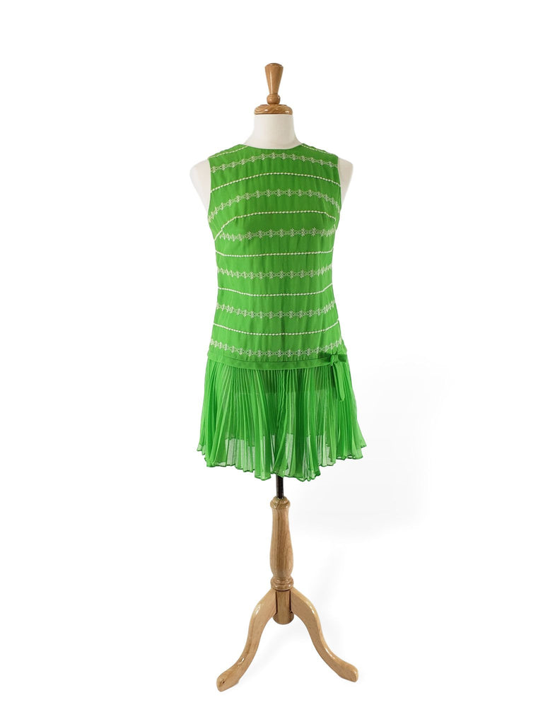 60s Scooter Dress in Embroidered Lime Green Cotton
