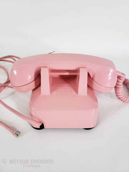 Pink Vintage Rotary Phone Back View