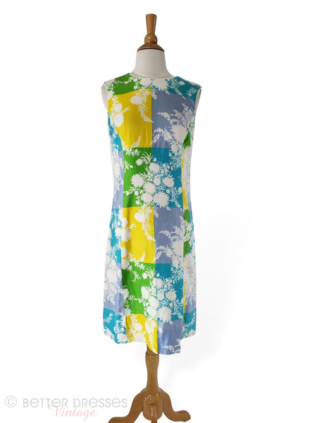 1960s Shift Dress in bold floral and geometric print