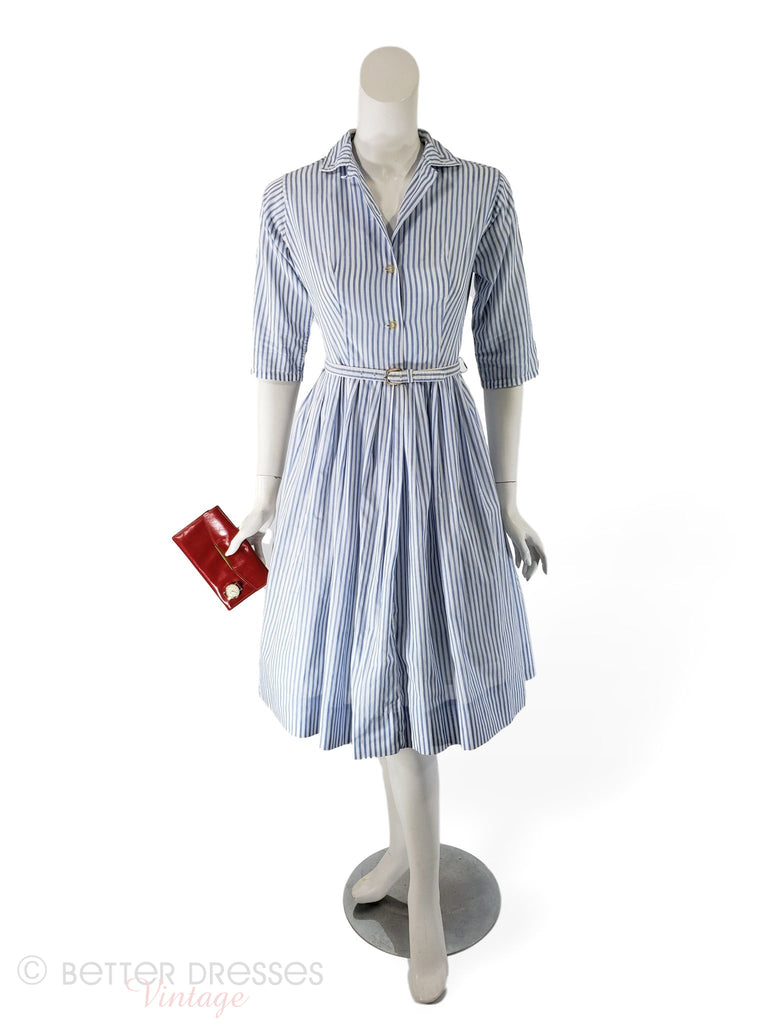 50s/60s Blue and White Striped Cotton Shirtwaist Dress