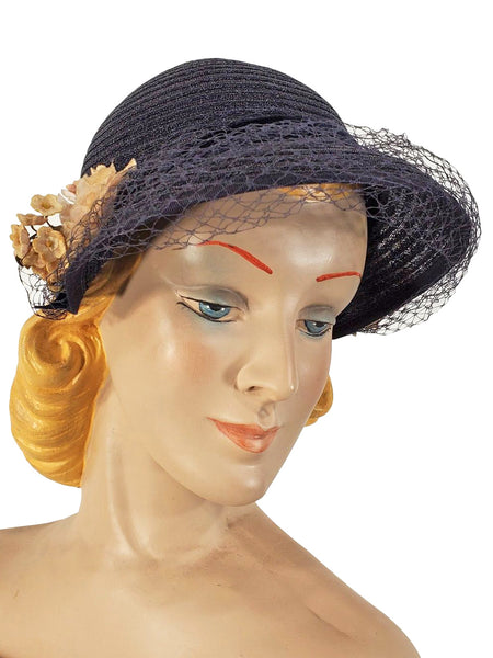 50s Cap style hat in navy straw
