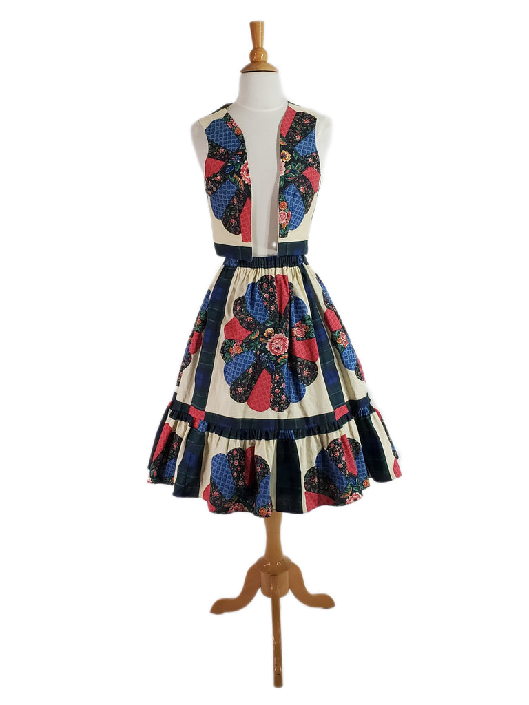 Patchwork Print Vest and Skirt, shown with a crinoline