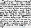 1929 newspaper article about wing-shaped scarves