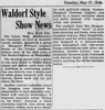 1949 article about Margaret Newman fashions at Waldorf-Astoria.