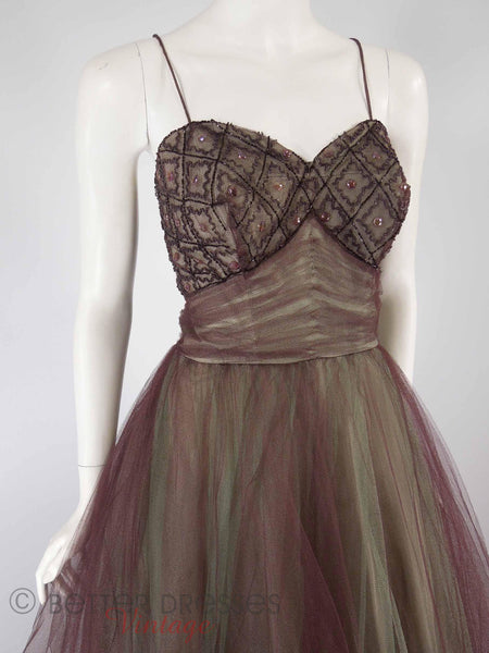 40s/50s Purple + Green Tulle Ball Gown - close angle