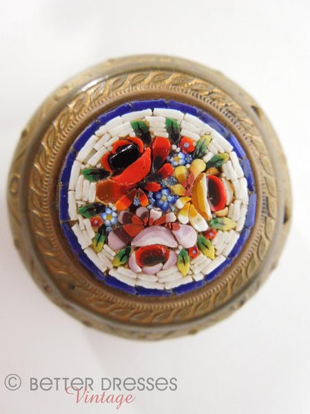 Antique Italian Micromosaic Picture Frame And Trinket Box