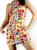 80s/90s halter mini dress with bugs and roses