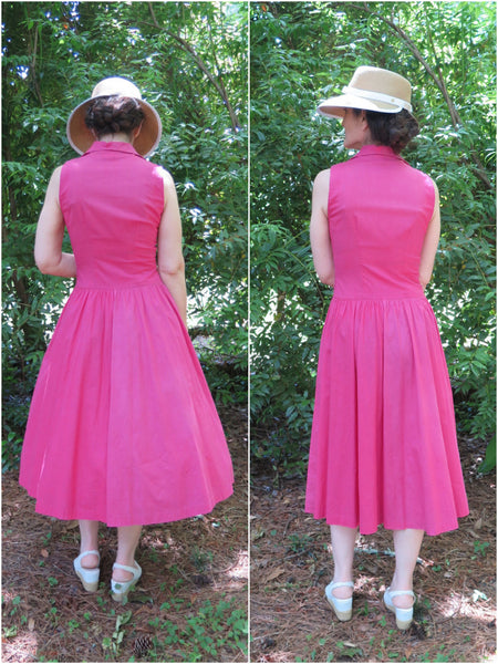 40s/50s Fuchsia Sundress - back views, no belt