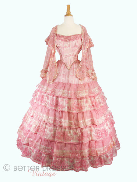 1850s Pink Organdy Evening Gown - fichu open