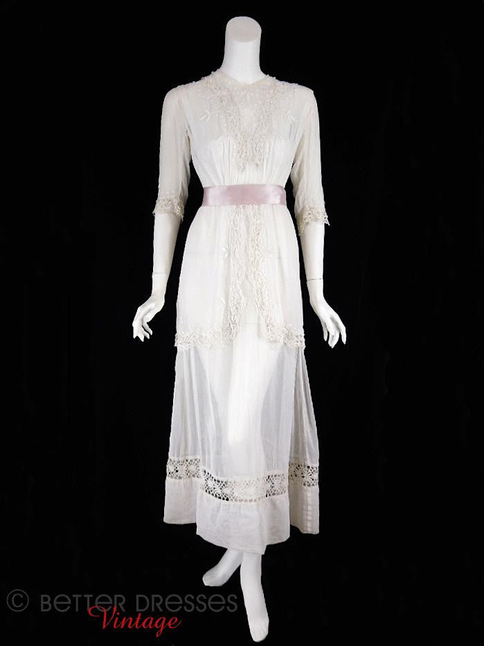 1910s Edwardian Lawn Tea Dress - with ribbon belt