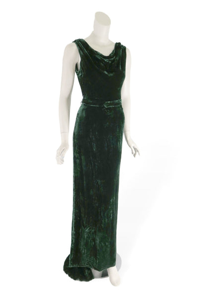 30s Green Velvet Gown & Jacket Set
