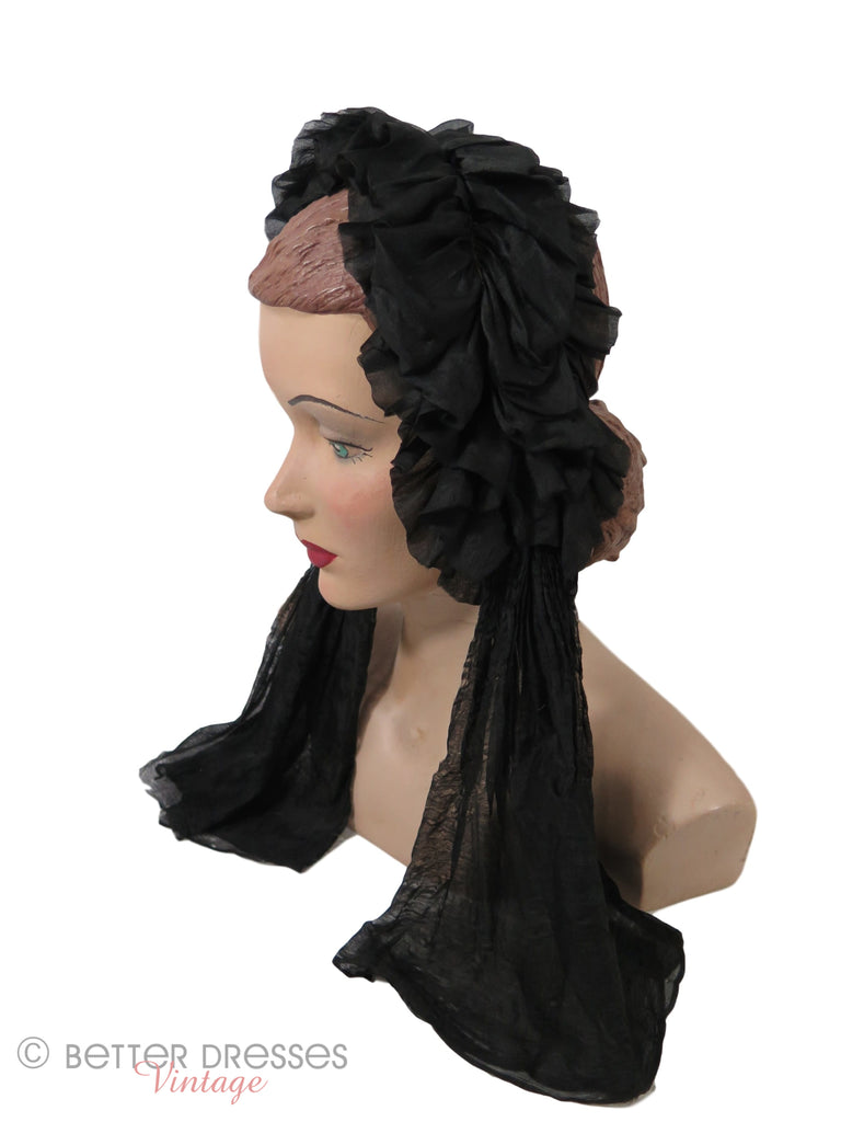 Mid-Victorian Fanchon Cap - left side