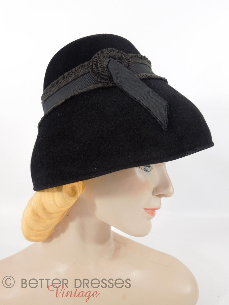 50s Black Fur Felt Mushroom Hat - Side