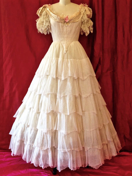 White Southern Belle Gown Wedding Dress Quinceanera