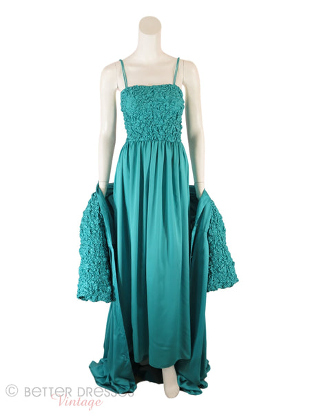 70s Odette Barsa Teal Peignoir - draped