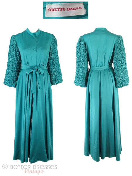 70s Odette Barsa Teal Peignoir - robe views