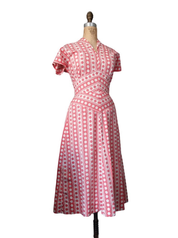 7b27f10532b5b8 40s Pink and White Polka Dot Cotton Day Dress - sm, med – Better ...