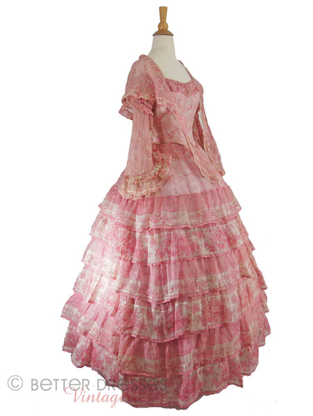 1850s Pink Organdy Evening Gown - side view