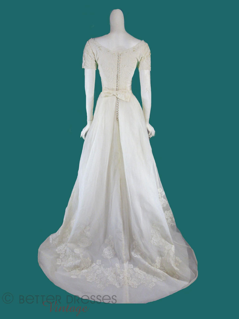 1960s Organza & Lace Wedding Gown With Train - sm – Better Dresses ...