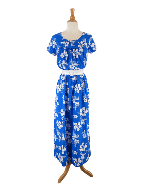 70s Cotton Hawaiian Dress - shown belted