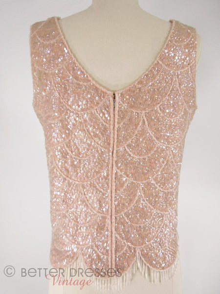 60s Pink Wool Beaded Shell - back