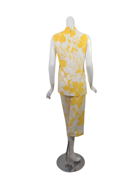 60s/70s Yellow + White Hawaiian Set - back