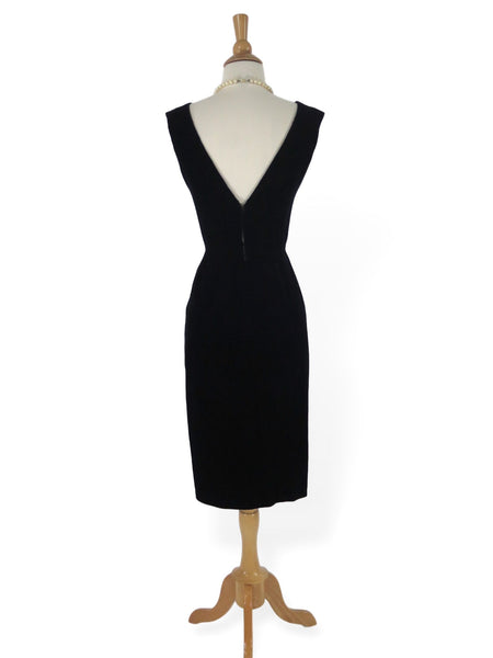 50s Black Velvet Wiggle Dress - back