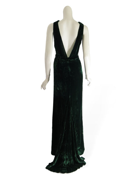30s Green Velvet Gown & Jacket Set - back of gown