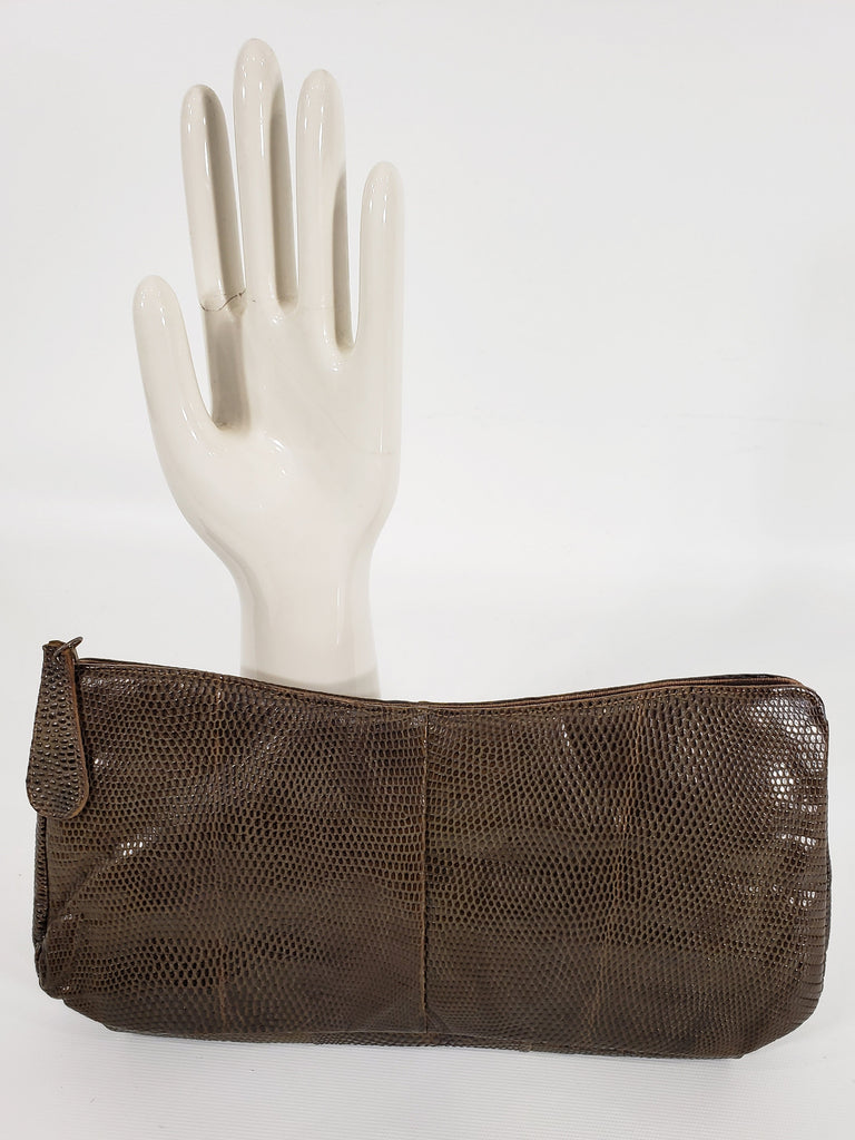 40s Brown Leather Clutch Purse