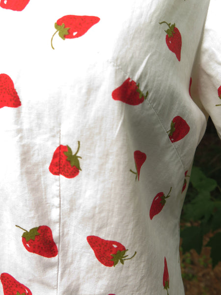 60s Short Sleeve Strawberries Blouse - sm