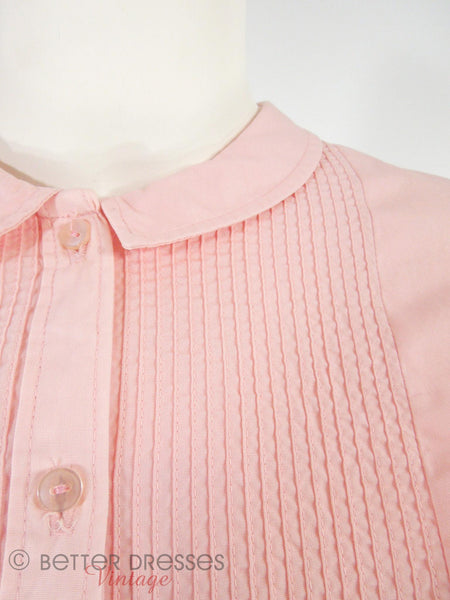 60s Slim Pink Shirtwaist - detail of bodice tucks