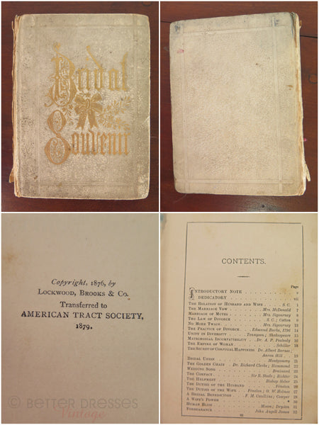 1887 Wedding Memento Book With Emphemera