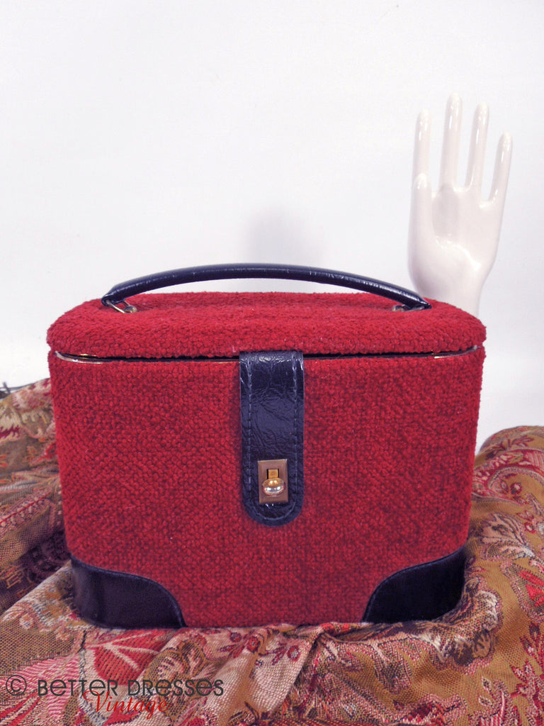 60s Red Tweed Train Case - front