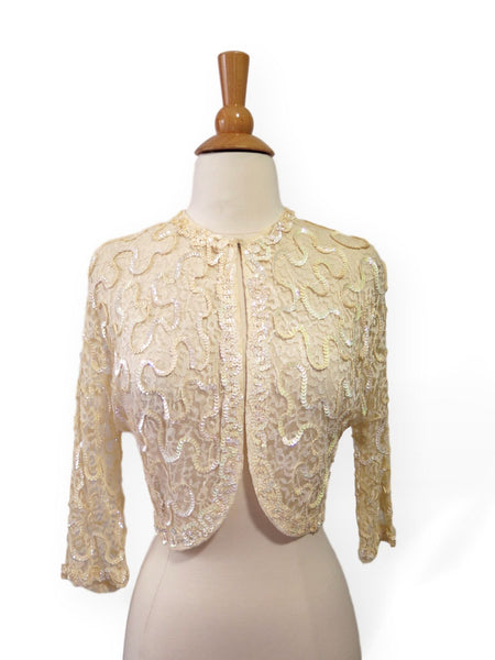 50s cream sequined bolero jacket