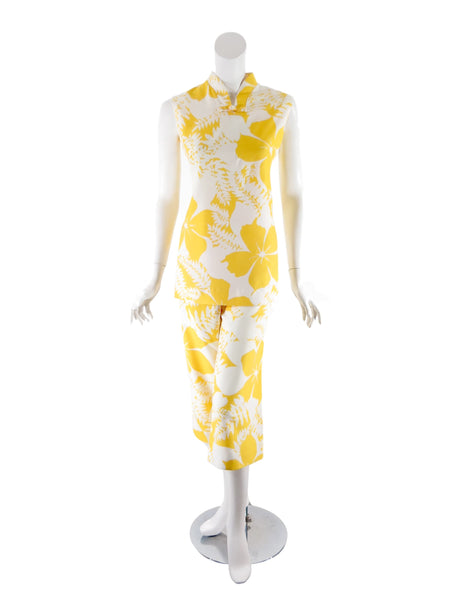 60s/70s Yellow + White Hawaiian Set - front