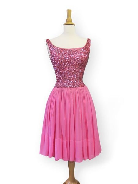 50s/60s Hot Pink Sequined Party Dress - xs, sm
