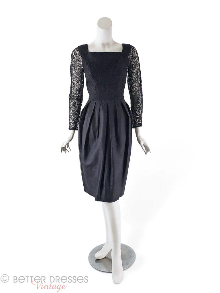 50s/60s black cocktail dress with lace bodice