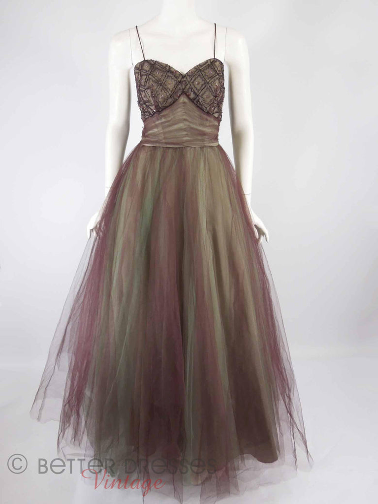 40s/50s Purple + Green Tulle Ball Gown - full view