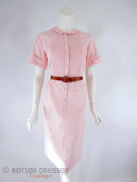 60s Slim Pink Shirtwaist - full view