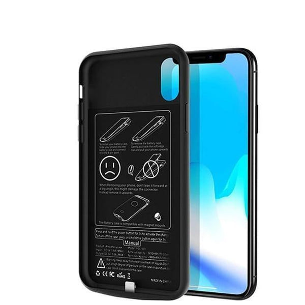 iPhone X Series  (3 in 1 Combo)  Battery Shell Case + Tempered Glass + Camera Lens Guard