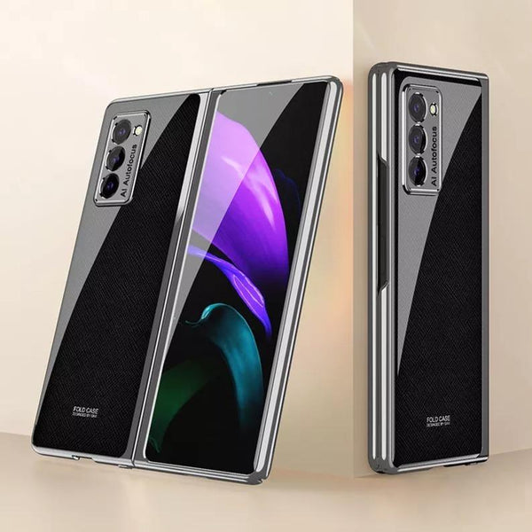Galaxy Z Fold2 Leather Pattern Glass Case