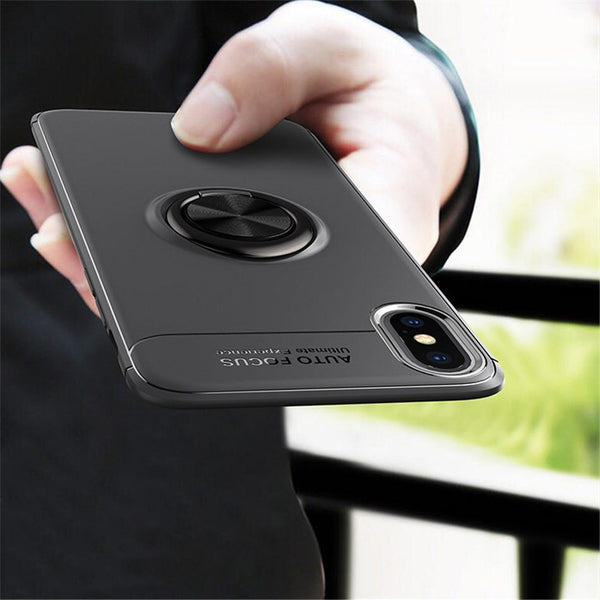 iPhone XS Max Metallic Finger Ring Holder Matte Case