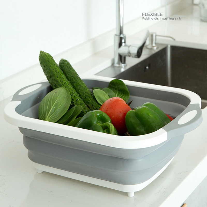 3 in 1 Foldable Cutting Board, Washing Bowl & Draining Fruit Basket