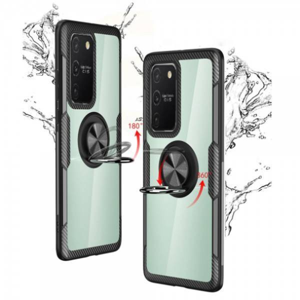 Galaxy S10 Lite Shockproof Transparent Metallic Ring Holder Case
