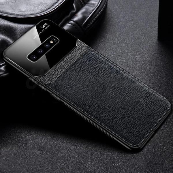 Galaxy S10 Plus Sleek Slim Leather Glass Case